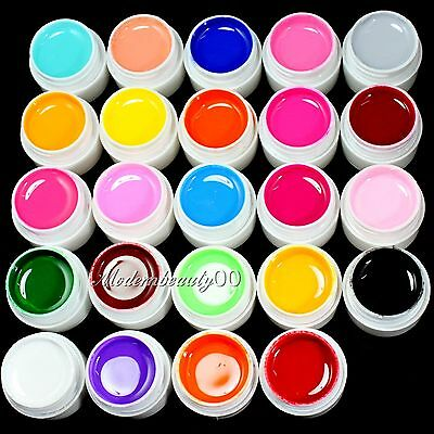 24 PCS Solid Pure Mix Colors UV Builder Gel Acrylic Set for Nail Art Tips New