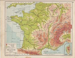 Details about 1931 MAP ~ FRANCE PHYSICAL ~ SOWING LAND HEIGHTS & SEA DEPTHS  CORSICA