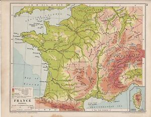 Map Of France Physical.1931 Map France Physical Sowing Land Heights Sea Depths
