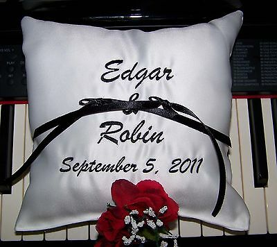 Personalized Wedding Pillow, White Wedding Pillow with names, Ring Pillow