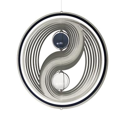 CIM Edelstahl Windspiel Yin Yang Frame Ø18cm Glaskugeln Garten-Deko Metall