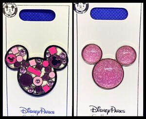 Pink Sparkle MickeyMinnie Keychain