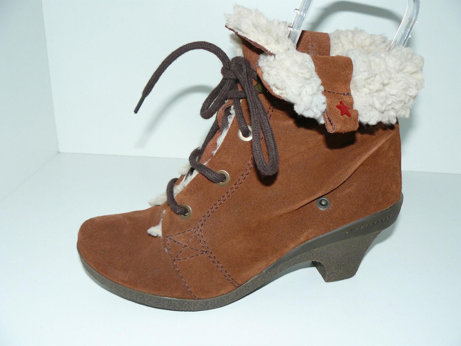 CUBANAS Fell Stiefeletten Biedermeier Damen Schuhe 37 UK 4 Wildleder braun NEU