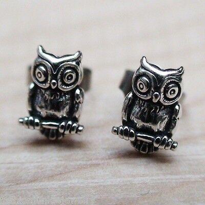 Owl Earrings - 925 Sterling Silver Post Earrings - Owl Bird Hoot Jewelry