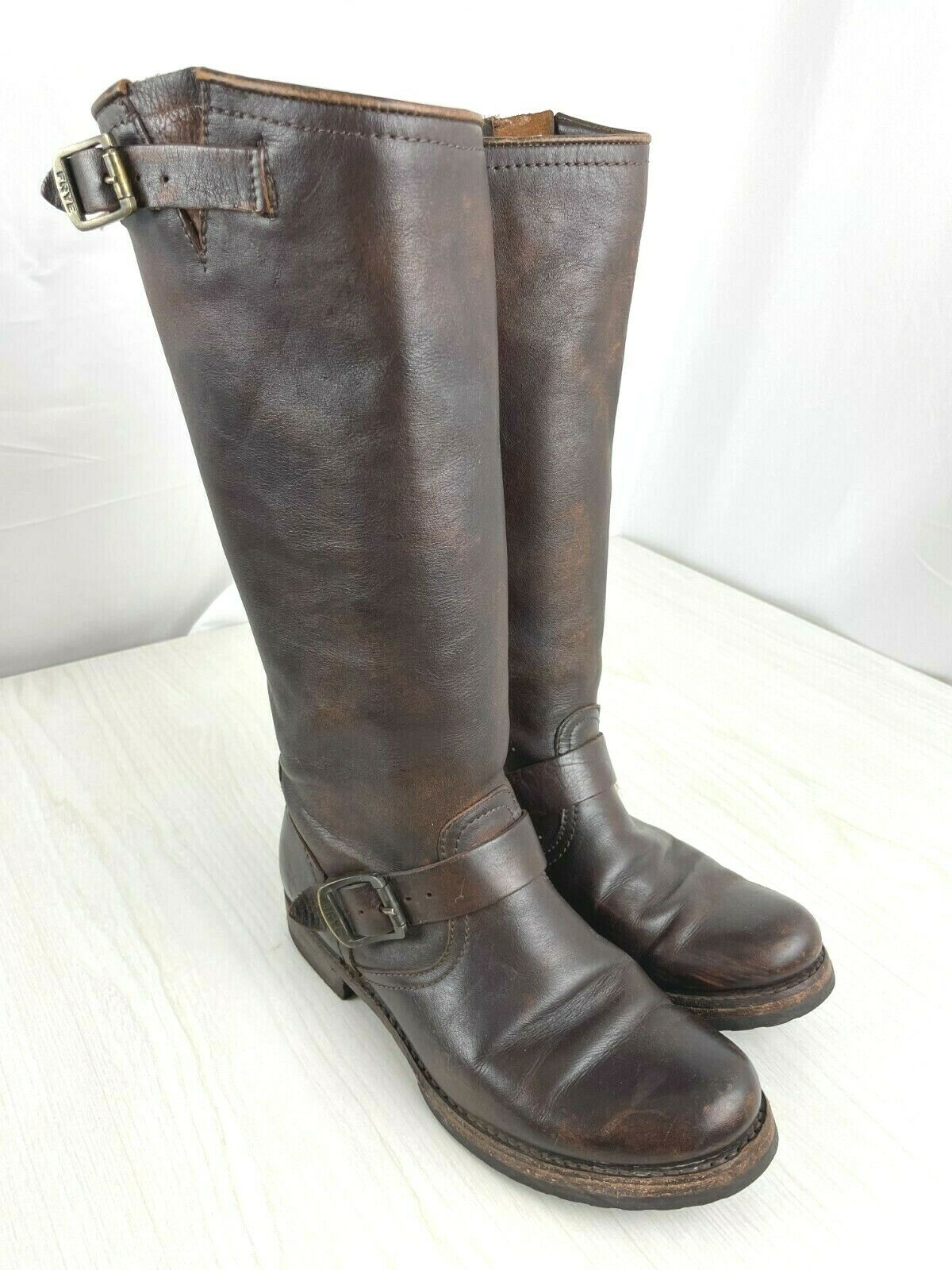 FRYE Women's Veronica Slouch Riding Boots Brown Leather Round Toe Size 7B