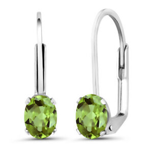 1-00-Ct-Oval-Green-Peridot-925-Sterling-Silver-Earrings