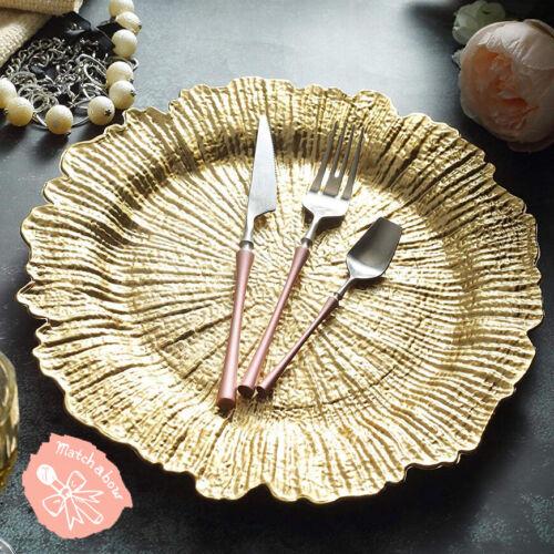 6 pcs Gold Reef Pattern Acrylic Plastic Charger Plate Shiny Finish
