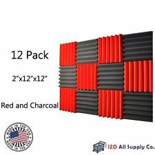 12 Pack Wedge RED/CHARCOAL Acoustic Soundproofing Studio Foam Tiles 2x12x12 6T