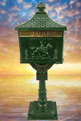 Briefständer Postkasten Vintage Standbriefkasten Gusseisen Briefkasten grün neu