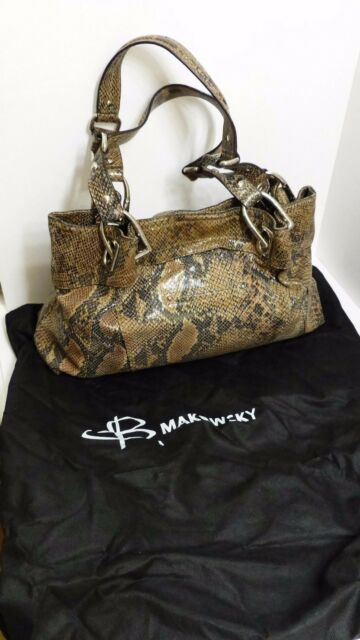 EUC B Makowsky Brown Python Print Patent Leather Large Shoulder Bag  w Silver MS adf3be9967