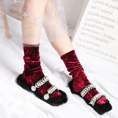 Women Girls Velvet Look Shiny Stockings Ladies Ankle Socks Winter Fall Stock