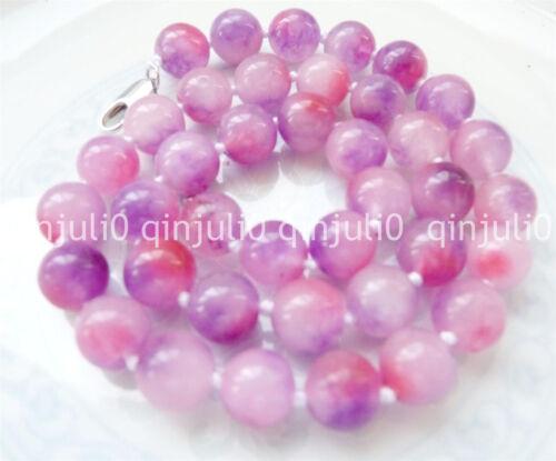 Auténtica 10mm Natural Esmeralda Gemas Multicolores redonda granos collar largo 18 pulgadas