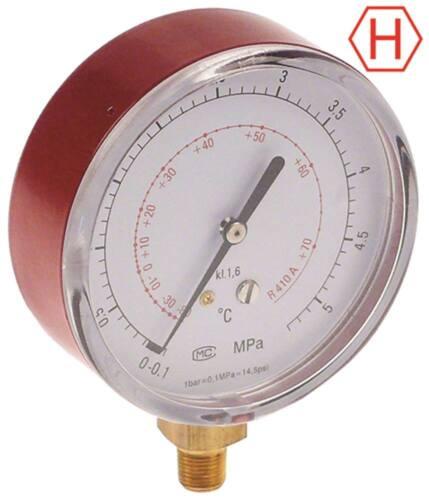 """Manometer Anschluss 1//8/"""" NPT HIGH ø 80mm R410a"""