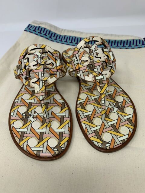 New Tory Burch MILLER WELT Geo Combo Printed Leather Sandals Slides Shoes 8.5