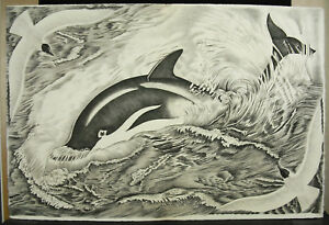 Tavy-Notton-Chisel-on-paper-Vellum-56-cm-Dolphin-and-Seagulls