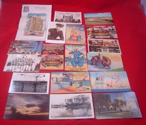 Vintage 1940s US NAVY CALIFORNIA OLD WEST POSTCARDS Hotel Stationary Hospital