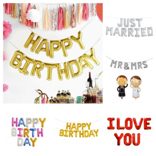 Diapositives Ballon Set Lettres Just Married Happy Birthday Mr /& Mme I Love You