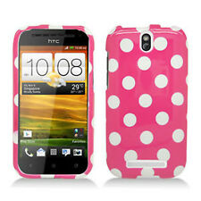 For Cricket HTC ONE SV HARD Case Snap On Phone Cover Hot Pink Polka Dots