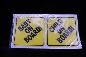 NEW CAR SAFETY SIGNS 2 x 'BABY ON BOARD'  & ' ON BOARD'  -WINDOW SUCTION VINYL