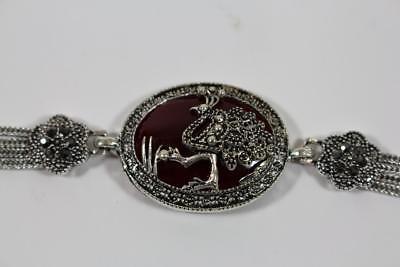 Armband Armschmuck Schmuckmetall Vogel Pfau Steinbesatz Markasiten Antik Stil