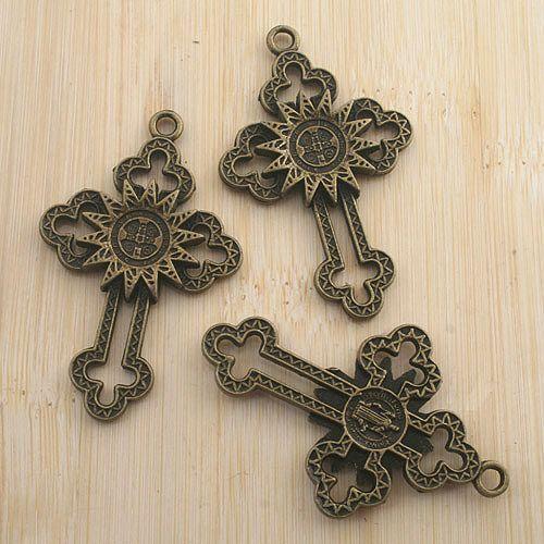 2pcs antiqued bronze cross pendant G1384