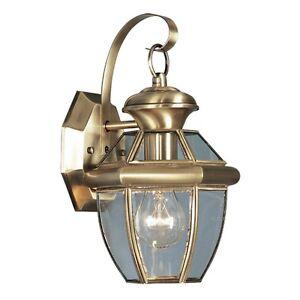 antique brass livex monterey 1 light wall lantern lighting. Black Bedroom Furniture Sets. Home Design Ideas