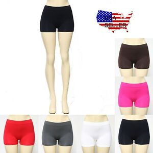 Seamless-Stretch-Shorts-Solid-Colors-Spandex-Workout-Gym-Plain-Tight-Bike-Yoga