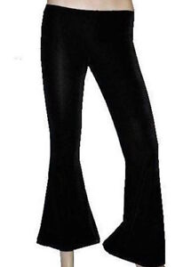 Black Gothic Velvet Flare Bottom Trousers Pants Goth Punk Emo Fancy Dress Party