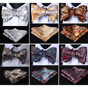 HISDERN-Paisley-Men-Woven-Silk-Wedding-Self-Bow-Tie-handkerchief-Set-RF2