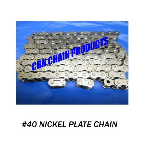 Nickel Plate 5 FT Go Kart Mini Bike Chain 2 Master Links WOW NICE 40 Chain