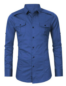 New-Mens-Casual-Luxury-Slim-Fit-Two-Pockets-Dress-Long-Sleeves-Shirts-CL6518