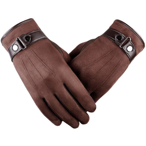 MEN/'S TOUCH SCREEN LEATHER GLOVES THERMAL FLEECE LINED DRIVING WINTER WARM GIFT
