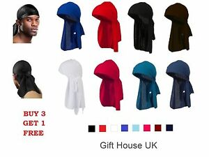 Men-039-s-Durag-Bandana-Sports-Du-Rag-Scarf-Head-Zandana-Tie-Down-Band-Biker-039-s-CapB3