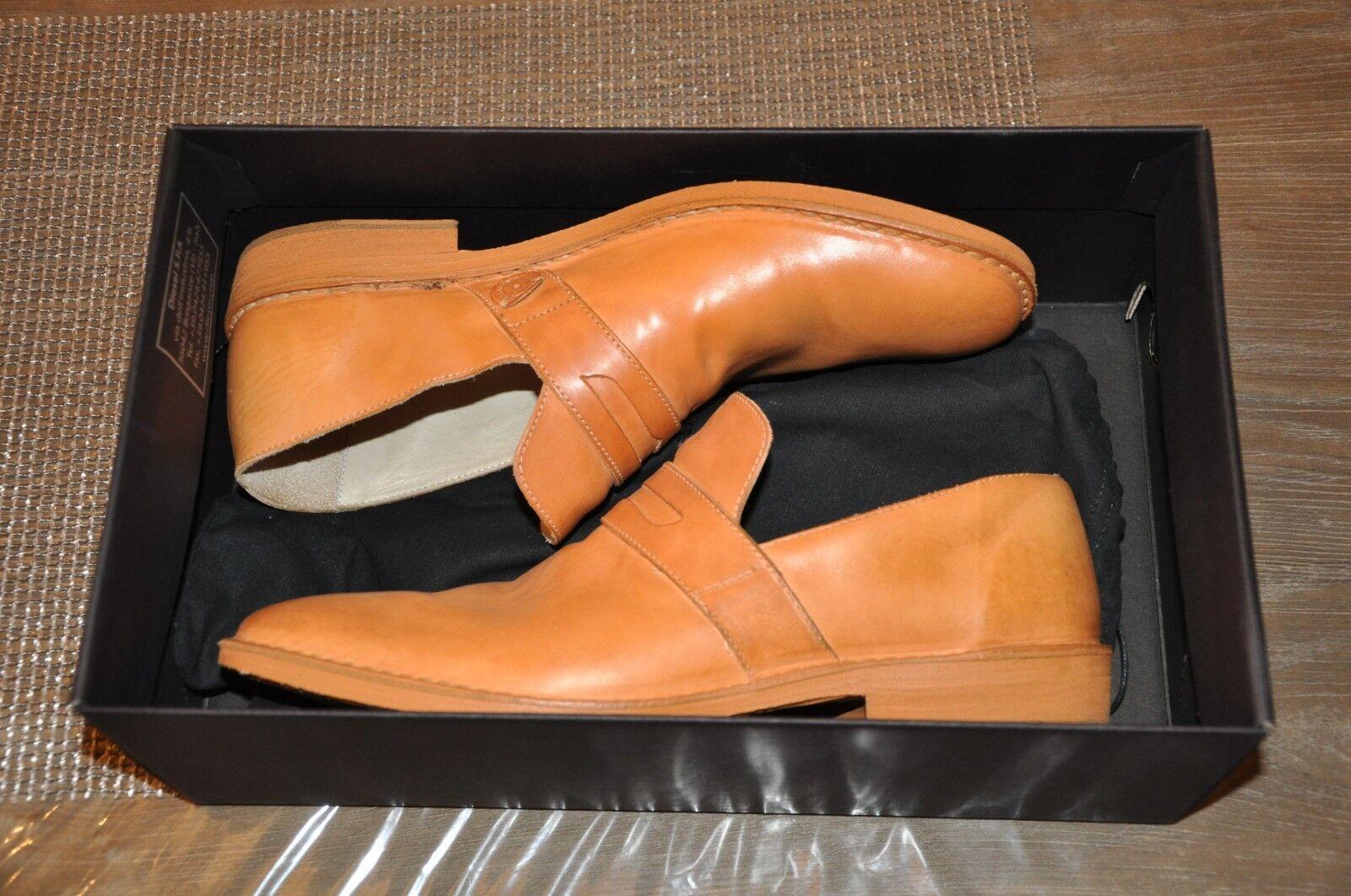 Diesel nero oro Barn-Sol Mens Leather scarpe Dimensione 44 US Dimensione 10.5 made in
