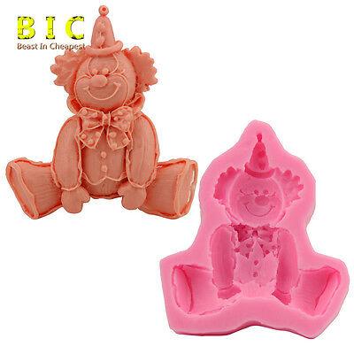 Cute Silicone 3D clown Fondant Cake Mold Sugarcraft Chocolate Decor Mould Tools