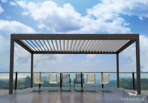 das bild wird geladen aluminium terrassendach mit verstellbaren lamellen wetterschutz sonnenschutz