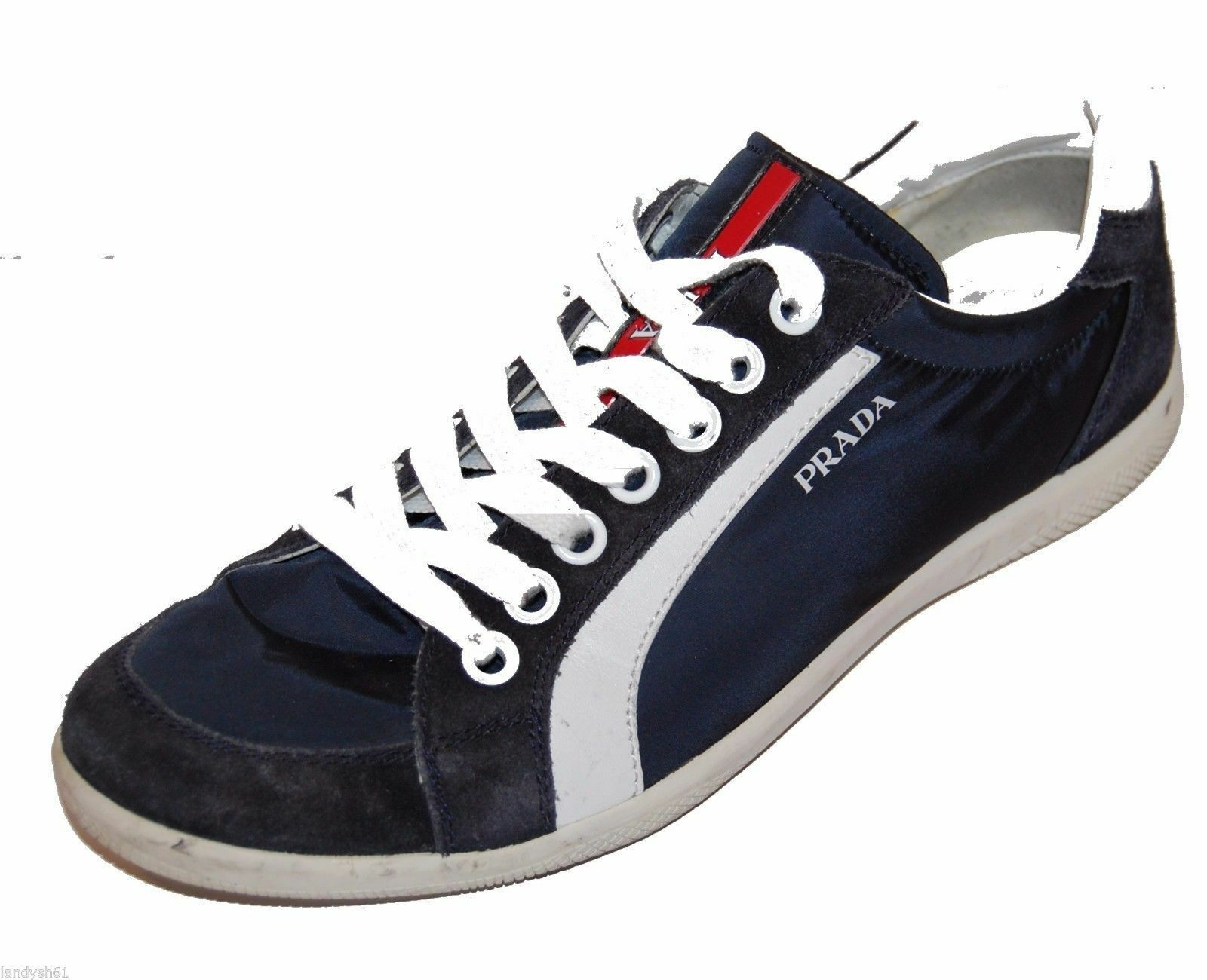 Prada Authentic Navy White Leather Men's Shoes Sneakers Sz Prada 7.5 US 8.5