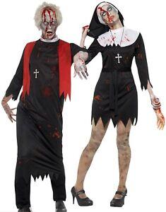 Caricamento dell immagine in corso Adulti-Zombie-Suora-Prete-Costume-in- Coppia-Uomo- 42b67d092174