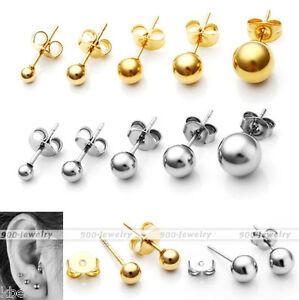 2-10pc-Men-039-s-Women-039-s-Stainless-Steel-Ball-Bead-Ear-Stud-Helix-Tragus-Earrings