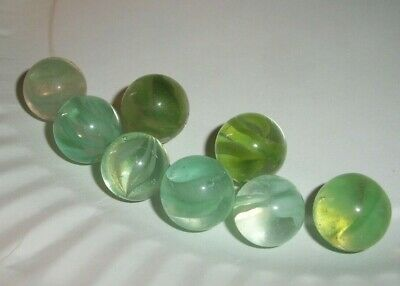 Vitro Agate Co Horseshoe Cateye Marbles Lot of 3 With Display 1950s  B35