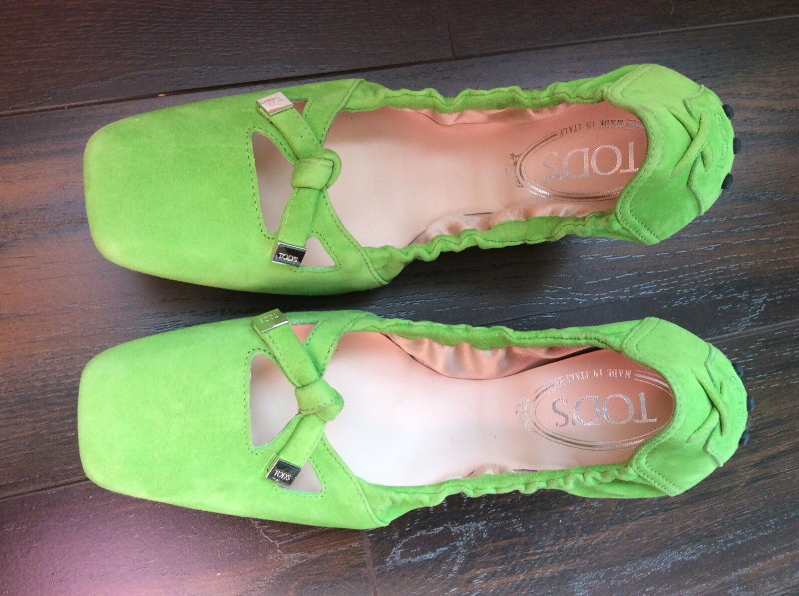TODS Ballerina Ballet Flats Driving Square Toe Bow Tie Scrunch Shoes Size 7.5