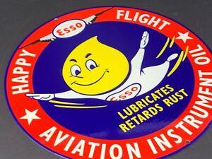 VINTAGE-ESSO-GAS-amp-OIL-DROP-BOY-FLYING-12-034-METAL-GASOLINE-SERVICE-STATION-SIGN