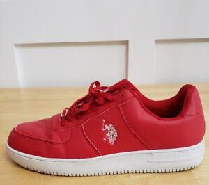 db344a84cbf86 Mens US Polo association Red   white leather Athletic Shoes Size 12 ...