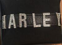 Harley-davidson Crystal Font Bling Black Leather Cuff Bracelet