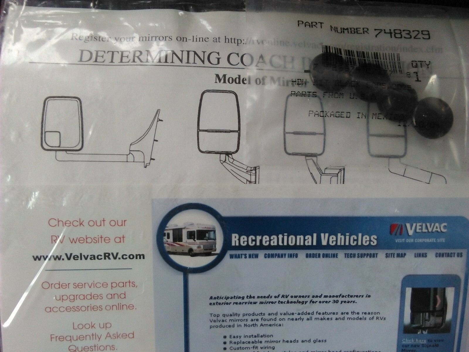 Velvac Mirror Wiring Diagram Winnebago Bgmt Data 2025 Drivers Side 714882 Heated Motorized Rh Ebay Com Mirrors For Motorhomes Arm