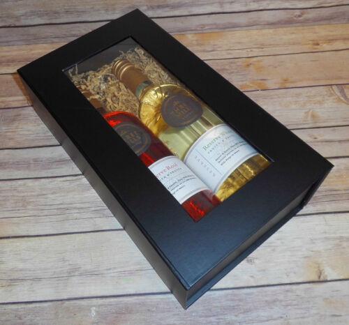 Christmas Gift Hamper BLACK MAGNETIC GIFT BOX with WINDOW 2 Wine Bottle Box