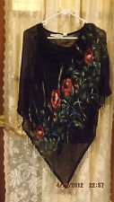 Misses Dressy  Black & Multi-Color Blouse with Roses & Beads   - Size 10