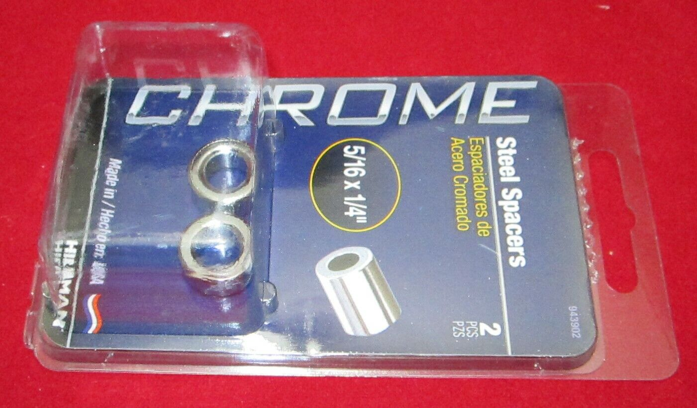 2-Pack 5//16 by 3//4-Inch The Hillman Group 943069 Chrome Steel Spacers