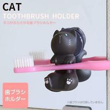 Cat Shaped Suction Cup Toothbrush Stand Holder (Black Cat)