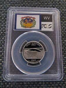 2005-S 25c West Virginia SILVER State Flag Label Quarter Proof PCGS PR70DCAM